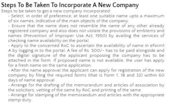 Study Notes - Steps to Incorporate Company