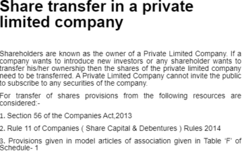 Study Notes - Transfer of Share Private Company