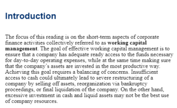 Study Notes - Working Capital Management