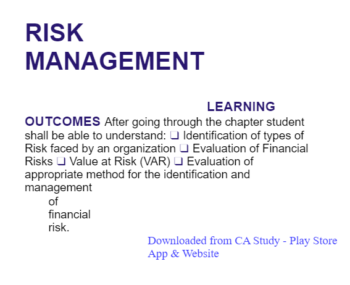 Study Notes -  Risk Management