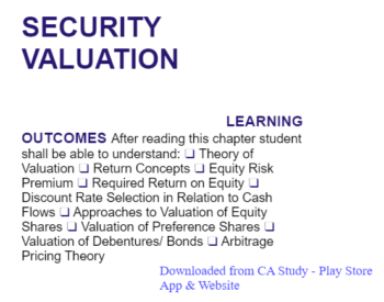 Study Notes - Security Valuation