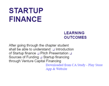 Study Notes -  Startup Finance