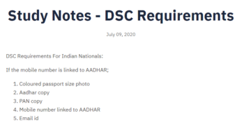 Study Notes - DSC Requirements