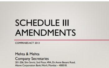 Amendments to Schedule III CA 2013