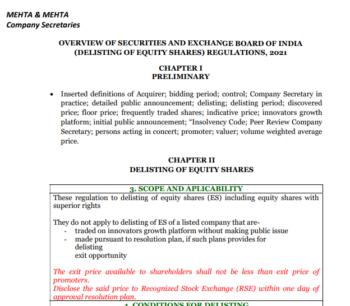 Overview of SEBI Delisting Regulations -June 2021